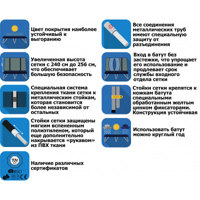 Батут KIDIGO VIP BLACK BTV 304 см с защитной сеткой SBTV