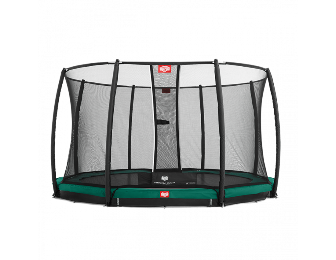 Батут BERG Elite+ InGround Green 430 Tattoo с защитной сеткой Safety Net T-series 430