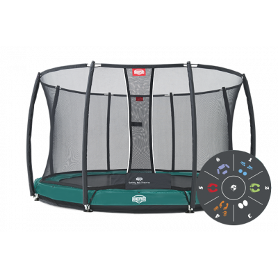 Батут BERG Elite+ InGround Red 330 с защитной сеткой Safety Net T-series 330