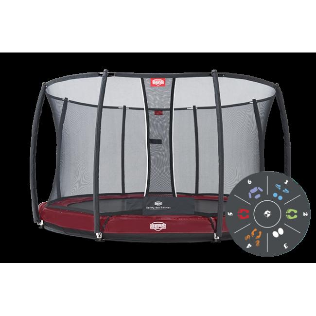 Батут BERG Elite+ InGround Red 430 Tattoo с защитной сеткой Safety Net T-series 430