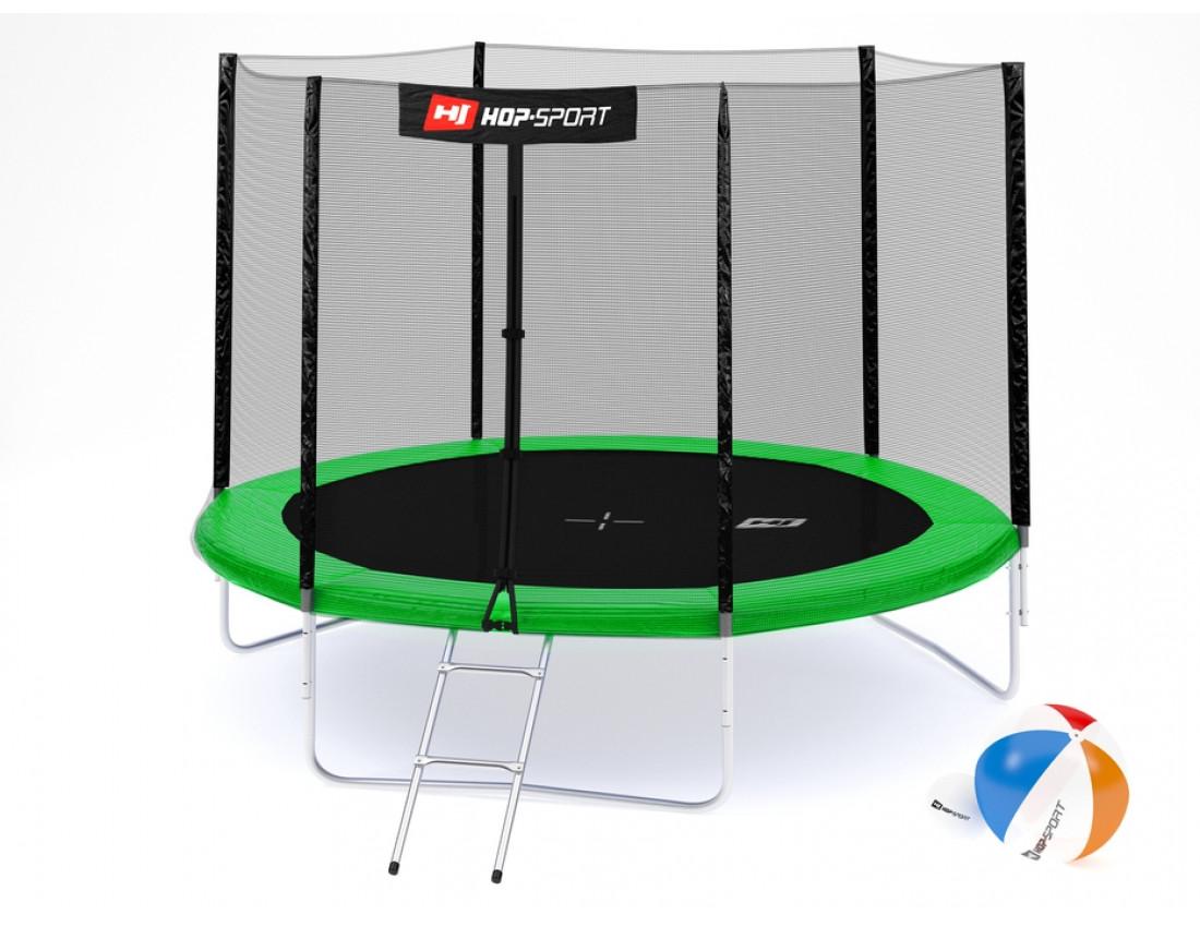 Батут Hop-Sport 10ft (305cm) green с внешней сеткой 3 ноги