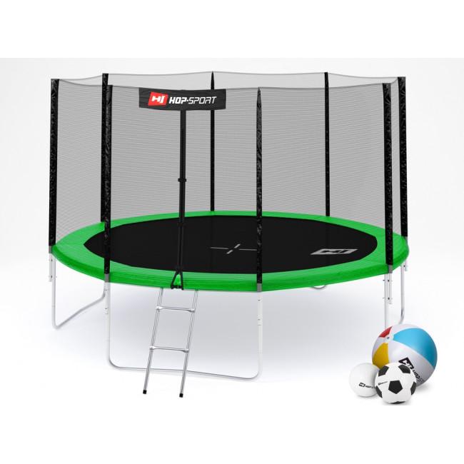 Батут Hop-Sport 12ft (366cm) green с внешней сеткой