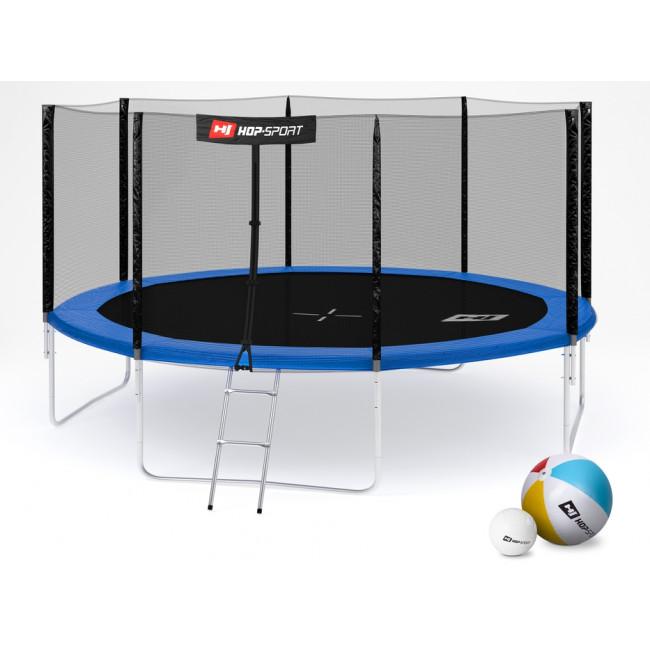 Батут Hop-Sport 14ft (427cm) blue с внешней сеткой