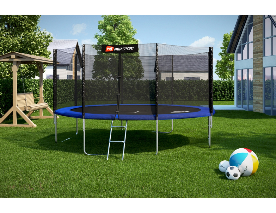 Батут Hop-Sport 8ft (244cm) blue с внешней сеткой