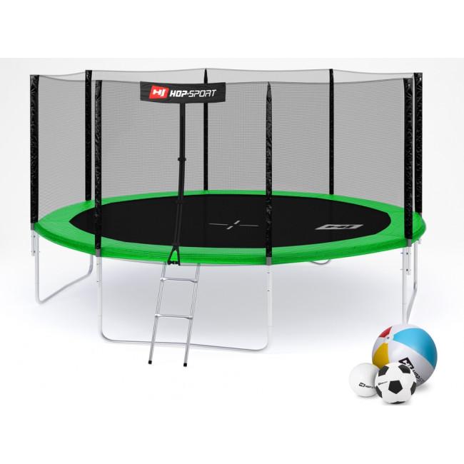 Батут Hop-Sport 14ft (427cm) green с внешней сеткой