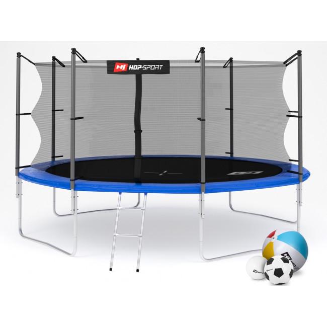 Батут Hop-Sport 14ft (427cm) blue с внутренней сеткой