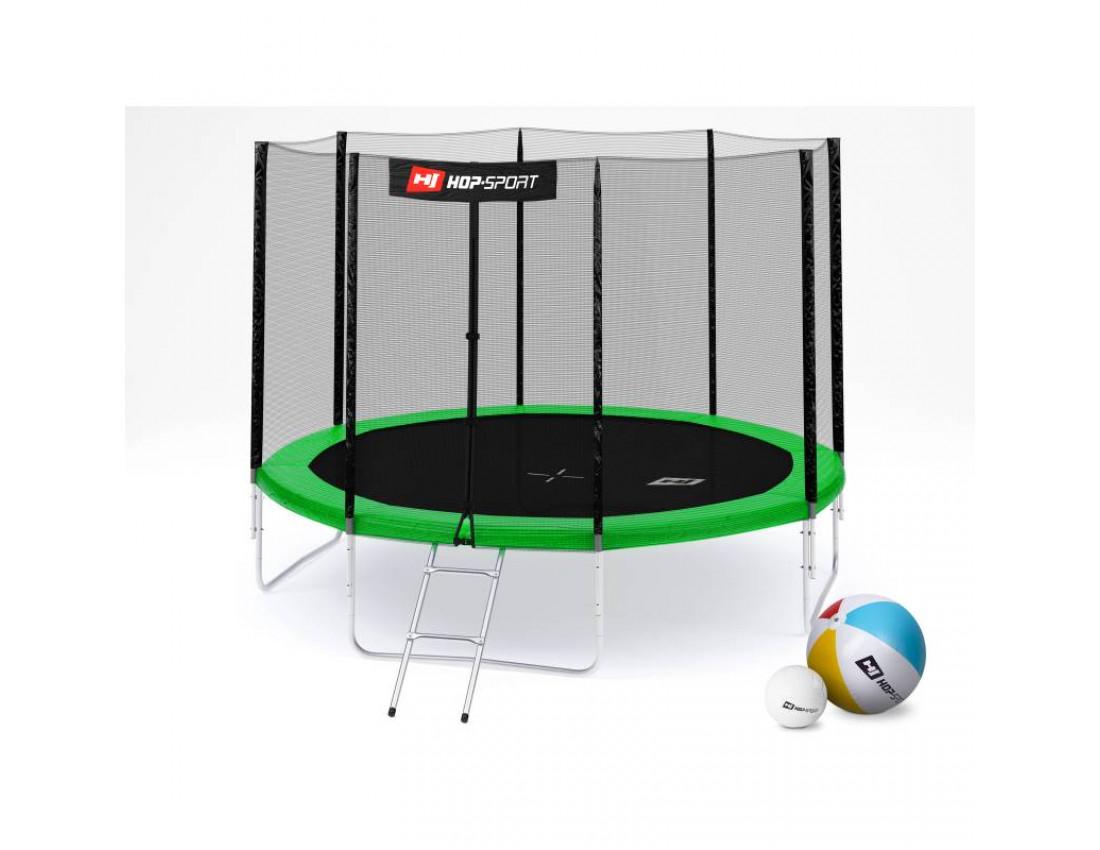 Батут Hop-Sport 10ft (305cm) green с внешней сеткой 4 ноги