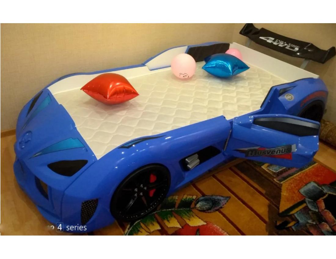 Кровать машинка Audi синяя с открывающимися дверями