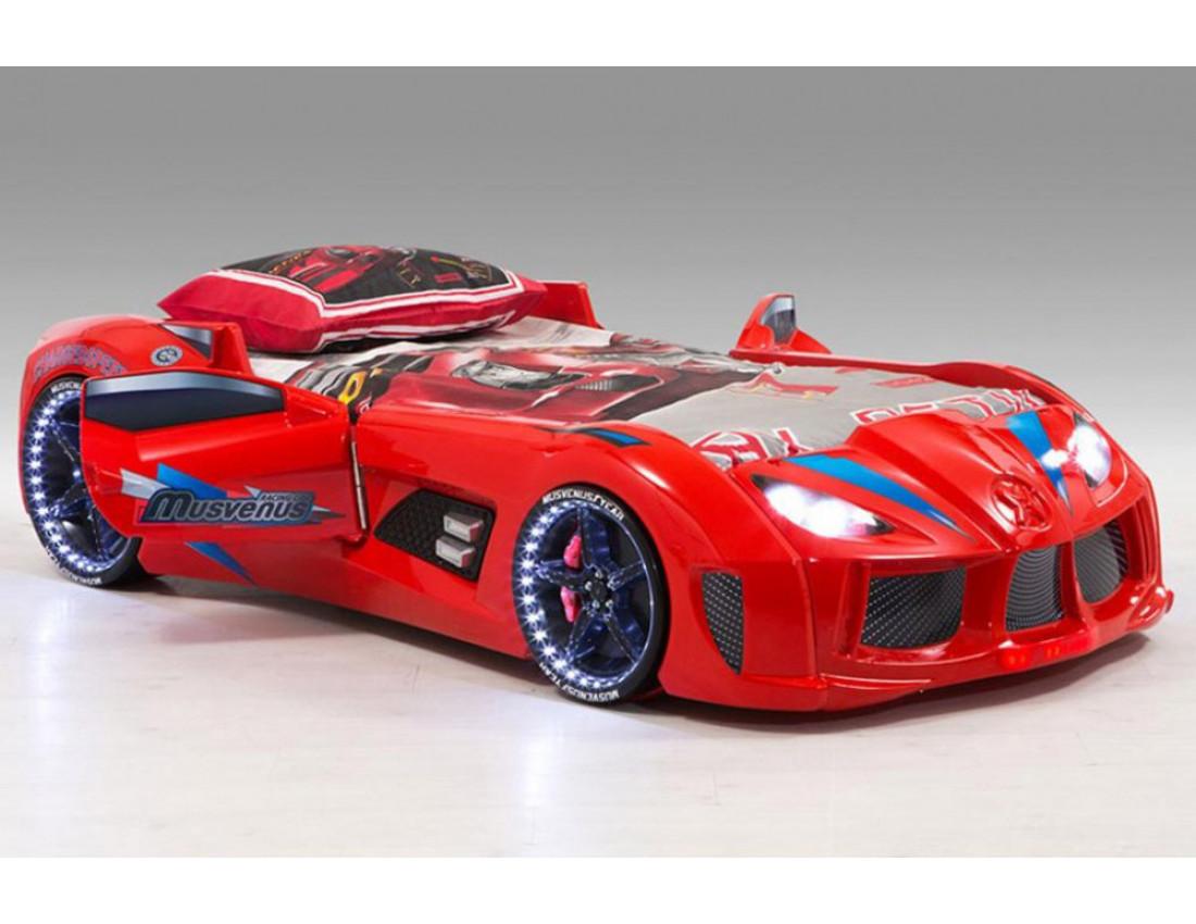 Кровать машинка Audi красная с открывающимися дверями