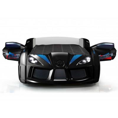 Кровать машинка Audi черная с открывающимися дверями